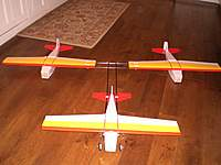 Name: CIMG4889.jpg Views: 112 Size: 62.6 KB Description: I've got 2 ailerons at the back, just using the outboard panels.  Those 2 rear planes have active rudders.  The front plane has it's aileron panels working in sync as elevators.