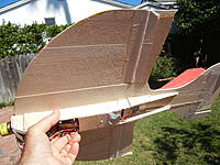 Name: DSCN1243.jpg Views: 129 Size: 289.6 KB Description: after quite a bit of repair and modification.  You can see the position of the gyro in betwee the ailerons.