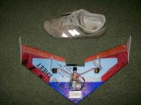 Name: 100_0075.jpg Views: 286 Size: 124.3 KB Description: my scatchbuilt flying wing. 20'' wingspan. and one of my favorite, and well worn shoes