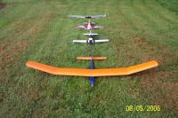Name: Picture 008.jpg Views: 365 Size: 155.3 KB Description: the fleet minus my new foamy. from front to back, goldberg gentle lady, ultrafly pc-9, hobby lobby yak 55, and a combat wings xe-2