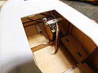 Name: DSCN0038.jpg Views: 565 Size: 680.1 KB Description: Mini servo installed . Back of servo box was removed to allow servo to be inserted. Block of basswood placed replaced the piece removed.