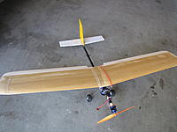 Name: IMG_0553.JPG Views: 94 Size: 437.1 KB Description: Tug number 2 assembled from junk bin parts.  It flies well and I can get 3-4 climb and releases on a 3 cell 850 lipo.