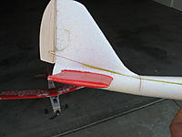 Name: IMG_3882.JPG Views: 164 Size: 623.1 KB Description: I had to add decalage by taking a slice out of the tail boom.  Otherwise it would pitch over into a death dive.